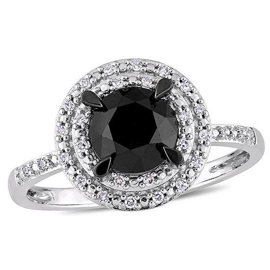 Womens 1 5/8 CT. T.W. Genuine Black Diamond 14K White Gold Engagement Ring