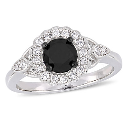 Womens 1 1/4 CT. T.W. Genuine Black Diamond 14K White Gold Engagement Ring
