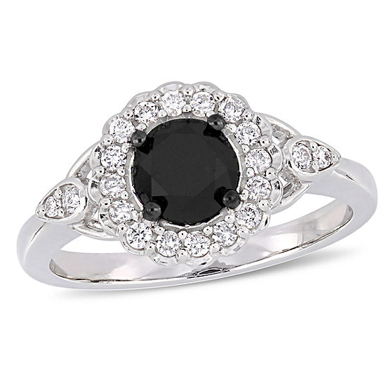 Womens 1 1/4 CT. T.W. Genuine Black Diamond 14K White Gold Engagement Ring