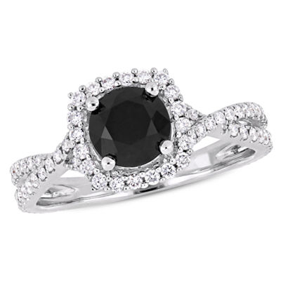 Womens 1 1/2 CT. T.W. Genuine Black Diamond 14K White Gold Engagement Ring