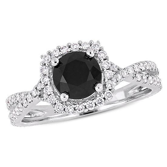 Womens 1 1/2 CT. T.W. Genuine Black Diamond 14K White Gold Engagement Ring