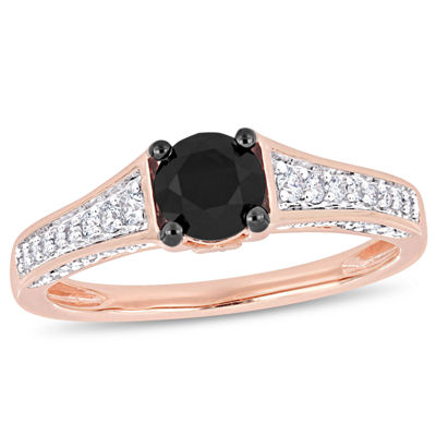 Womens 1 CT. T.W. Genuine Black Diamond 14K Rose Gold Engagement Ring