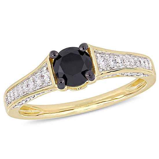 Womens 1 CT. T.W. Genuine Black Diamond 14K Gold Engagement Ring