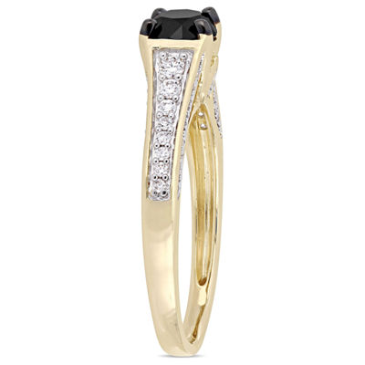 Womens 1 CT. T.W. Genuine Black Diamond 14K Gold Engagement Ring
