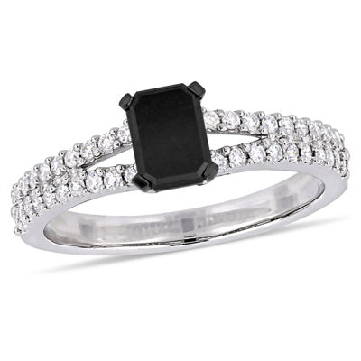 Womens 1 CT. T.W. Genuine Black Diamond 14K White Gold Engagement Ring