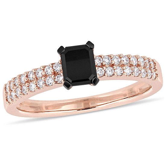 Womens 3/4 CT. T.W. Genuine Black Diamond 14K Rose Gold Engagement Ring