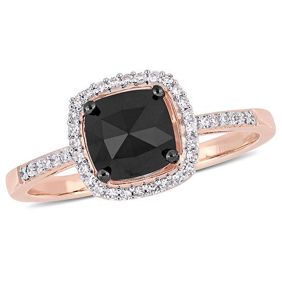Womens 1 Ct Tw Genuine Black Diamond 14k Rose Gold Engagement Ring