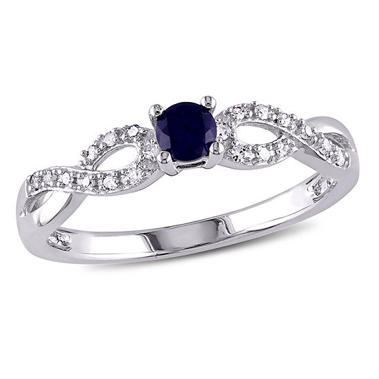 Promise My Love Womens 1/10 CT. T.W. Lab Created Blue Sapphire Sterling Silver Infinity Promise Ring