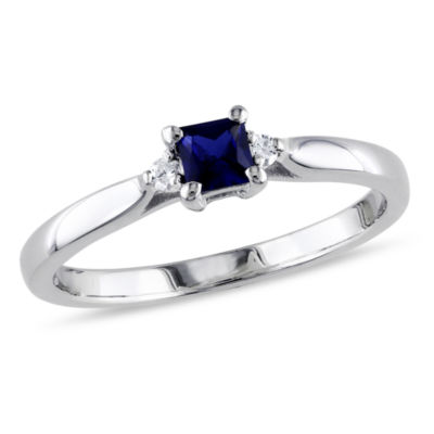 Promise My Love Womens Diamond Accent Lab Created Blue Sapphire Sterling Silver Promise Ring