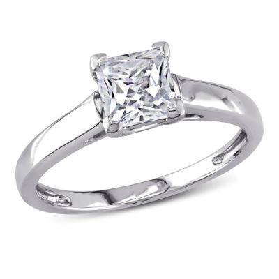 Modern Bride Gemstone Womens Lab Created White Sapphire 10K White Gold Solitaire Ring