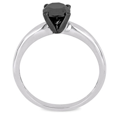 Womens 1 CT. T.W. Genuine Black Diamond 14K White Gold Solitaire Ring