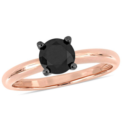 Womens 1 CT. T.W. Genuine Black Diamond 14K Rose Gold Solitaire Ring