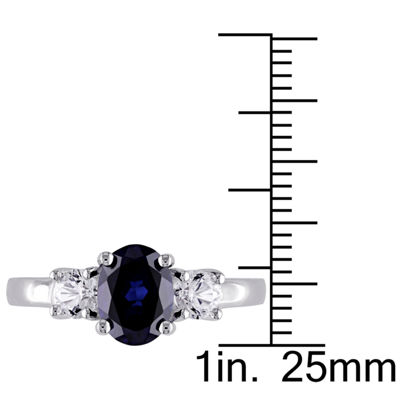 Modern Bride Gemstone Womens 2MM Lab Created Blue Sapphire 3-Stone Band