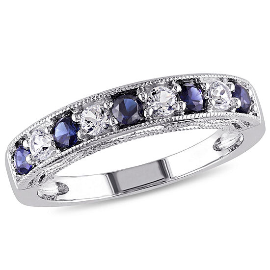 Modern Bride Gemstone 2MM Lab Created Blue Sapphire Sterling Silver Band