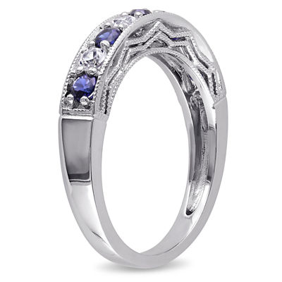 Modern Bride Gemstone Womens 2mm Lab Created Blue Sapphire Sterling Silver Band
