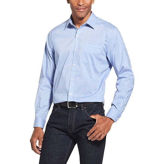 Van Heusen Traveler Long Sleeve Slim Stretch Plaid Button-Front Shirt