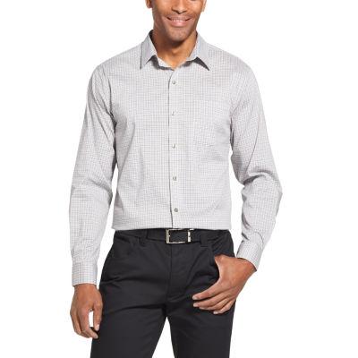 Van Heusen Traveler Long Sleeve Slim Stretch Checked Button-Front Shirt-Slim