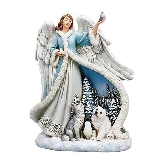 Roman Angel In Blue Dress With Animals Figurine