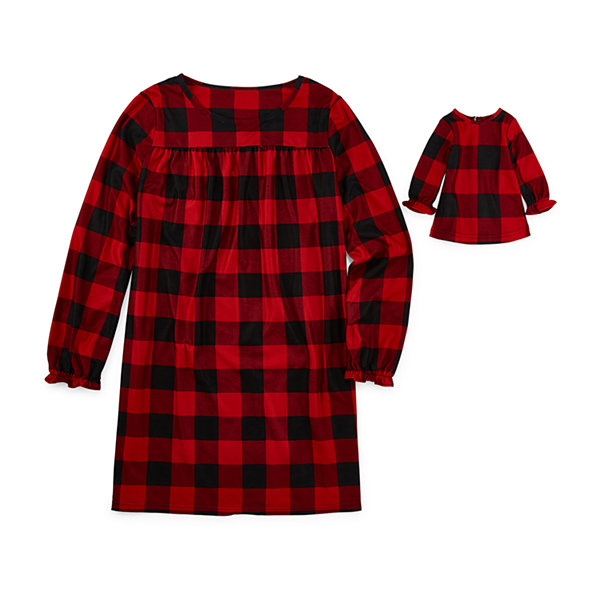 North Pole Trading Co. Buffalo Plaid Family Girls Flannel Nightgown Long Sleeve Crew Neck