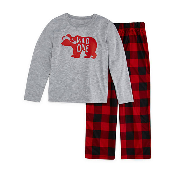 North Pole Trading Co. Buffalo Plaid Family Unisex 2-pc. Pant Pajama Set Big Kid Husky