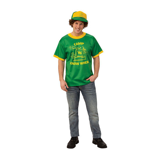 "Stranger Things Dustin's ""Camp Know Where"" T Shirt Adult Dress Up Costume Mens"
