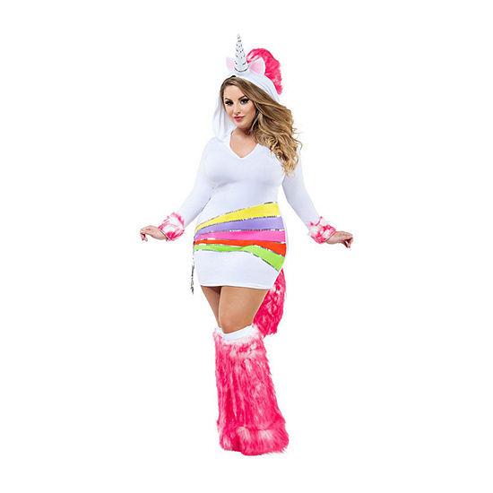 Adult Sassy Plus Rainbow Unicorn Costume