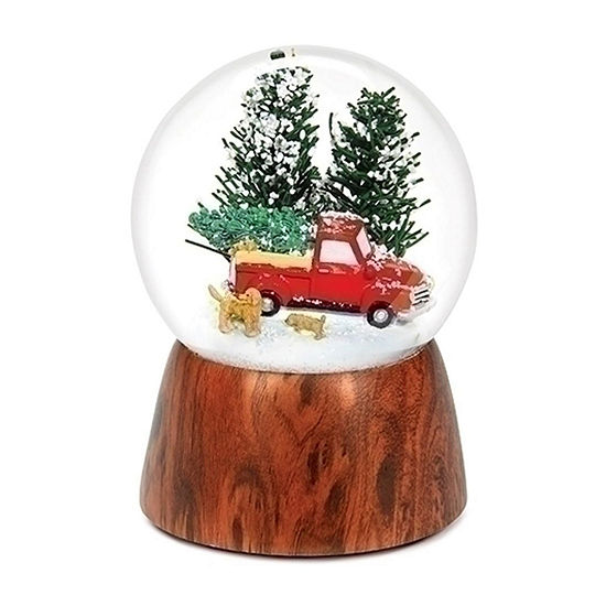 Roman Musical Red Truck With Dogs Round SnowGlobes