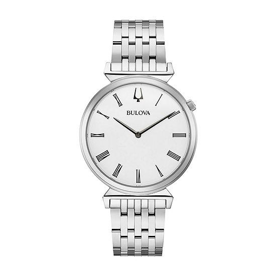Bulova Regatta Mens Silver Tone Stainless Steel Bracelet Watch - 96a232