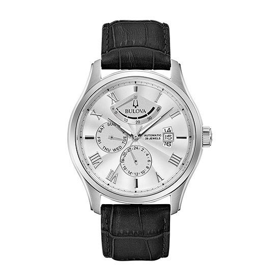 Bulova Wilton Mens Black Leather Strap Watch-96c141