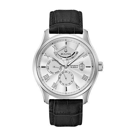 Bulova Wilton Mens Black Leather Strap Watch 96c141, One Size