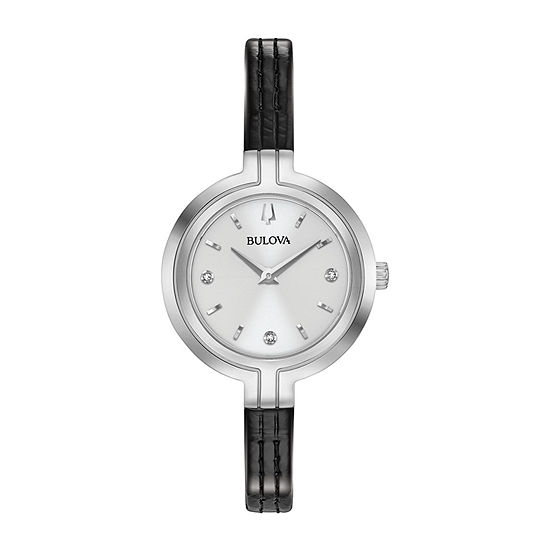Bulova Rhapsody Womens Diamond Accent Black Leather Strap Watch-96p211