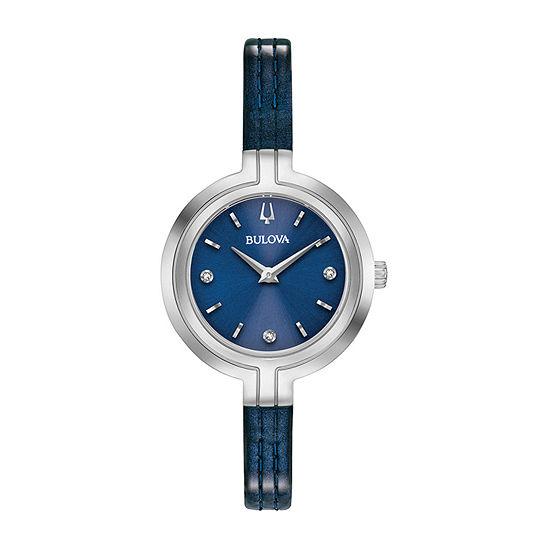 Bulova Rhapsody Womens Diamond Accent Blue Leather Strap Watch-96p212
