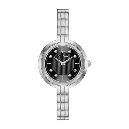 Bulova Rhapsody Womens Diamond Accent Silver Tone Stainless Steel Bracelet Watch - 96p215
