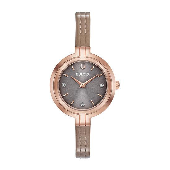 Bulova Rhapsody Womens Diamond Accent Brown Leather Strap Watch-97p143