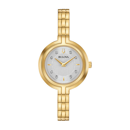 Bulova Rhapsody Womens Diamond Accent Gold Tone Stainless Steel Bracelet Watch-97p144
