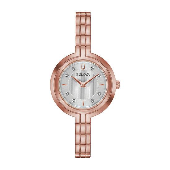 Bulova Rhapsody Womens Diamond Accent Rose Goldtone Stainless Steel Bracelet Watch-97p145