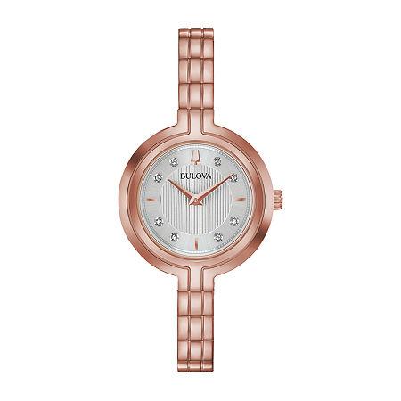 Bulova Rhapsody Womens Diamond Accent Rose Goldtone Stainless Steel Bracelet Watch - 97p145, One Size