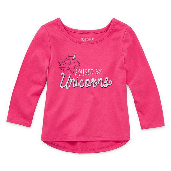 Okie Dokie Girls Crew Neck Long Sleeve T-Shirt-Baby