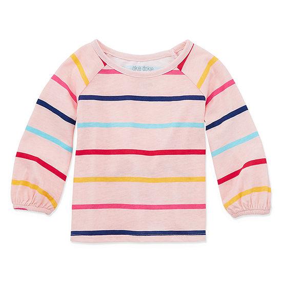 Okie Dokie Girls Round Neck Long Sleeve T-Shirt-Baby