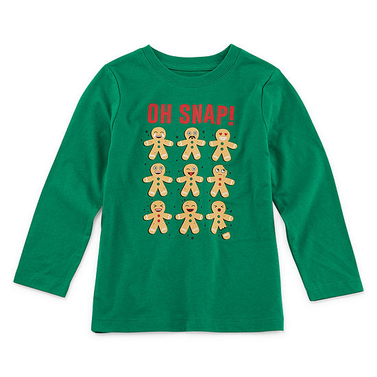 City Streets Christmas Boys Crew Neck Long Sleeve Graphic T-Shirt-Toddler