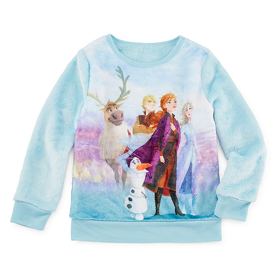 Disney Girls Crew Neck Long Sleeve Frozen Sweatshirt - Toddler