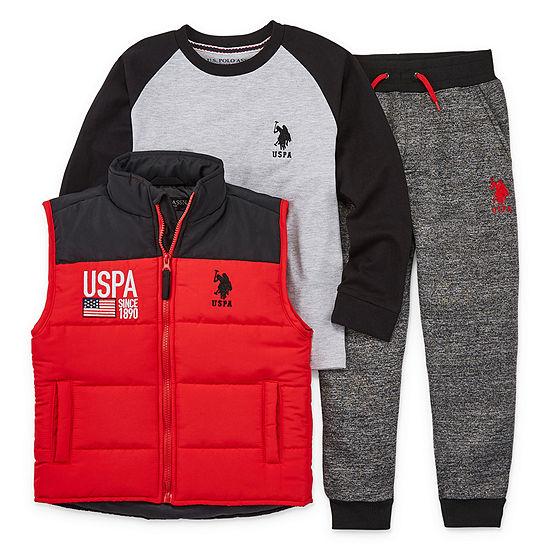 Us Polo Assn. Boys 3-pc. Bodysuit Set-Preschool