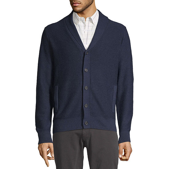 Claiborne Mens Y Neck Long Sleeve Cardigan