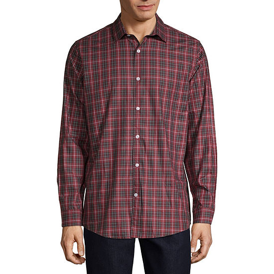 Claiborne Holiday Mens Long Sleeve Plaid Button-Front Shirt