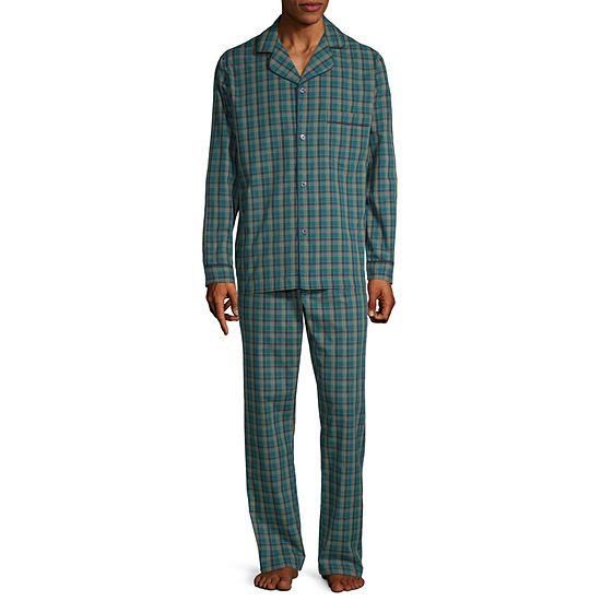 Stafford Mens Long Sleeve Set 2-pc. Pant Pajama