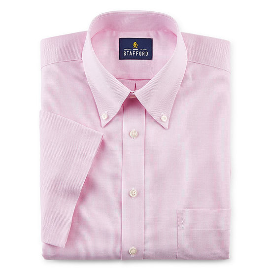 Stafford Mens Button Down Collar Short Sleeve Wrinkle Free Stretch Dress Shirt