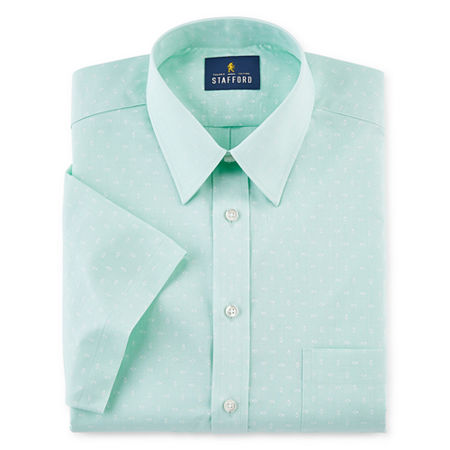 Stafford Mens Point Collar Short Sleeve Stretch Dress Shirt, 18 , Green