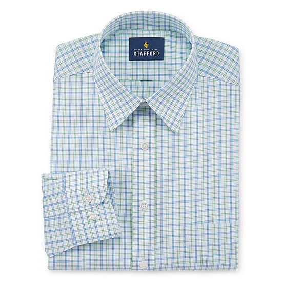 Stafford Mens Point Collar Long Sleeve Wrinkle Free Stretch Stain Resistant Dress Shirt