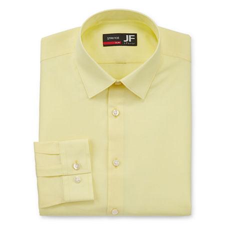 J.Ferrar - Slim Mens Spread Collar Long Sleeve Stretch Dress Shirt, 17-17.5 34-35, Yellow