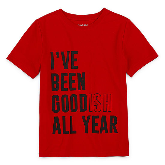 North Pole Trading Co. Christmas Boys Crew Neck Short Sleeve T-Shirt Preschool / Big Kid Husky